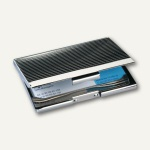 Sigel Visitenkartenbox, 20 Karten, 95 x 62 mm, chrom/silber, VZ130