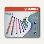 STABILO Fasermaler Pen 68, Metall-Etui mit 20 Farben, sortiert, 6820-6