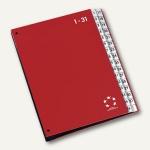 officio Pultordner DIN A4, Kunststoff, Register 1-31, rot