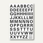 Buchstaben, 10 mm, A-Z, wetterfest, Folie transp., schwarz, 10 x 1 Blatt, 4158