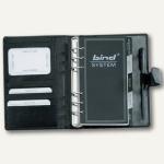 Systemplaner DIN A6, Kalender 1 Woche/2 Seiten, Nappaleder, Druckknopf, schwarz