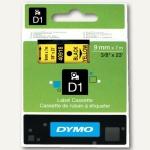 Dymo D1 Etikettenband, 9 mm x 7 m, schwarz auf gelb, S0720730