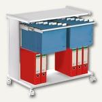 Hängemappenwagen PRAGMA, für 100 Mappen, Tisch- & Bodenplatte, lichtgrau, 3529
