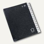 officio Pultordner DIN A4, Hartpappe, Register 1-31, schwarz