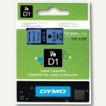 Dymo D1 Etikettenband, 12 mm x 7 m, schwarz auf blau, S0720560