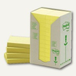 Post-it Haftnotizen Recycling 38 x 51 mm, gelb, Karton à 24 x 100 Blatt, 653-1T