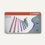 STABILO Fasermaler Pen 68, Metall-Etui mit 30 Farben, sortiert, 6830-6