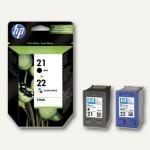 HP Tintenpatronen Doppelpack, schwarz (Nr.21) + farbig (Nr.22), SD367AE