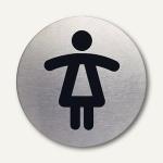 """Durable Edelstahl-Piktogramm """" WC-Damen"""", Ø 83 mm, 2 Stück, 4904-23"""