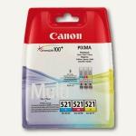 Canon Tintenpatronen Multipack CLI-521 für IP 3600, je 446 Seiten, cmy, 2934B007