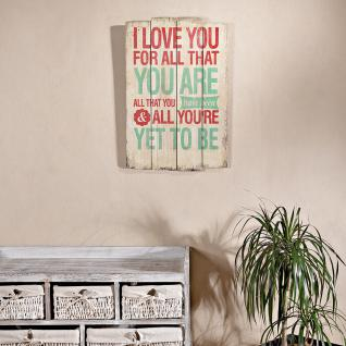 Shabby Wand Bild Board aus Holz - I Love You