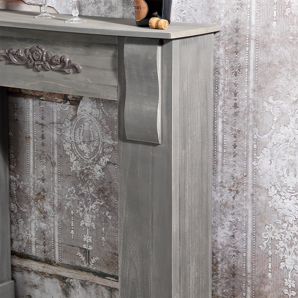 deko kamin attrappe konsole shabby grau kaufen bei mucola gmbh. Black Bedroom Furniture Sets. Home Design Ideas