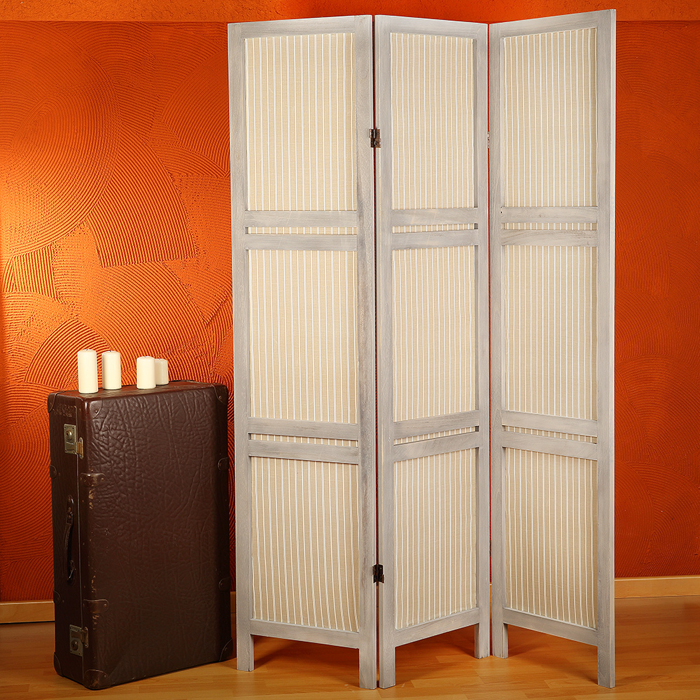 sichtschutz paravent 3 tlg aus holz shabby chic. Black Bedroom Furniture Sets. Home Design Ideas