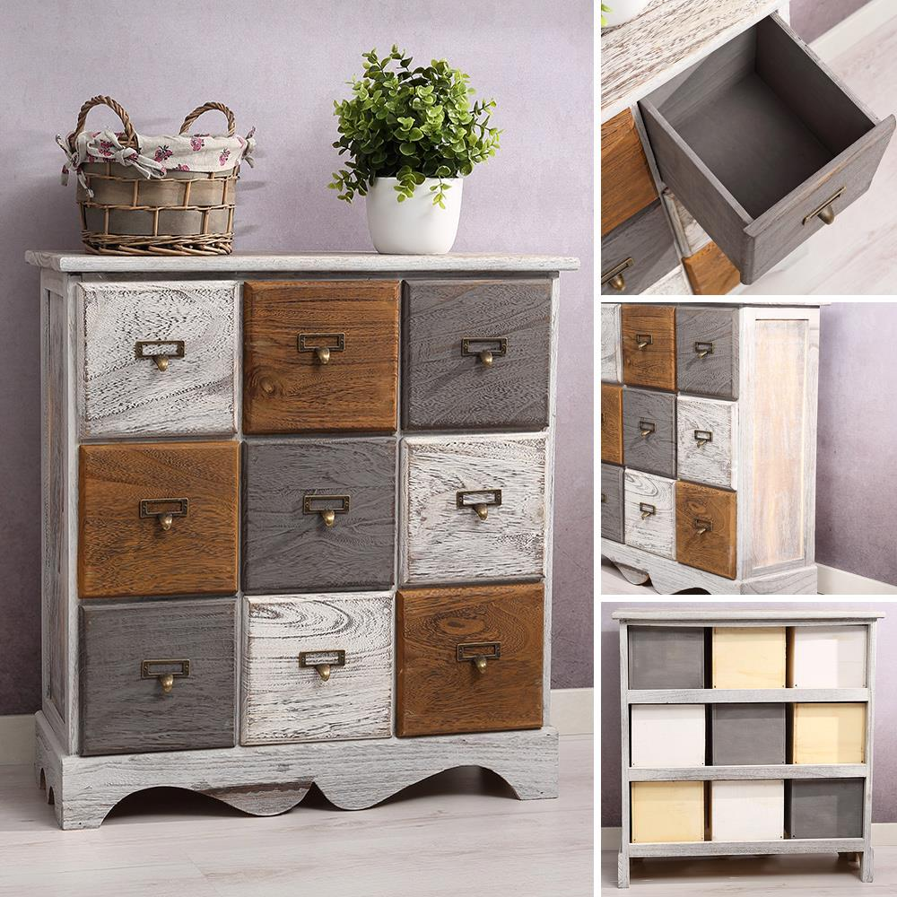 kommode inkl 9 schubladen patchwork shabby look braun grau wei paulownia holz kaufen bei. Black Bedroom Furniture Sets. Home Design Ideas