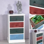Highboard Kommode Patchwork Stil 4 Schubfächer