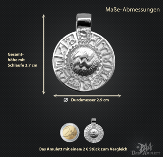 Sternzeichen Wassermann - Tierkreiszeichen Amulett 925/000 Sterlingsilber bildliches Symbol mit Kautschukband - Vorschau 3