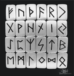 Runen Plättchen kompletter Satz 24 Stück 925/000 - Vorschau 3