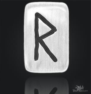 Runenplättchen/ Runenstein Raido 925/000 Sterling Silber - Vorschau 1