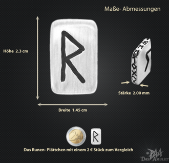 Runenplättchen/ Runenstein Raido 925/000 Sterling Silber - Vorschau 3