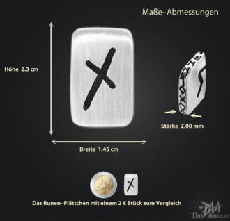 Runenplättchen/Runenstein Naudhiz 925/000 Sterling Silber - Vorschau 3