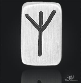 Runenplättchen/ Runenstein Elhaz 925/000 Sterling Silber - Vorschau 1