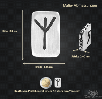 Runenplättchen/ Runenstein Elhaz 925/000 Sterling Silber - Vorschau 3