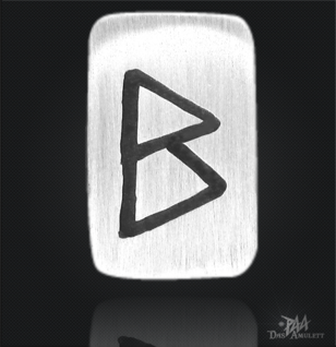 Runenplättchen/ Runenstein Berkana 925/000 Sterling Silber - Vorschau 1