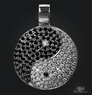Yin Yang 950/000 Platin mit schwarzen und weißen Brillanten - Vorschau 1