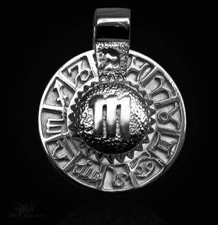 Sternzeichen Skorpion - Tierkreiszeichen Amulett aus 585/000, 14 Karat Weißgold - Vorschau 1