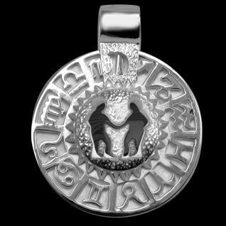 Sternzeichen Zwillinge - Tierkreiszeichen Amulett 925/000 Sterlingsilber bildliches Symbol mit Kautschukband
