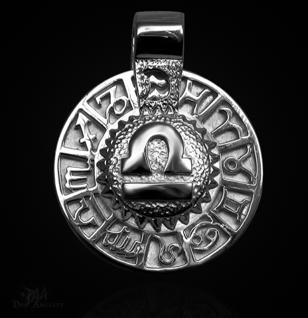 Sternzeichen Waage - Tierkreiszeichen Amulett 950/000 Platin - Vorschau 1
