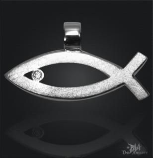 Ichthys (Jesus Fisch) 925/000 Silber mit Kautschukband