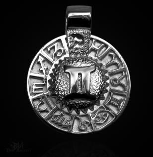 Sternzeichen Zwilling - Tierkreiszeichen Amulett 925/000 Sterlingsilber mit Kautschukband