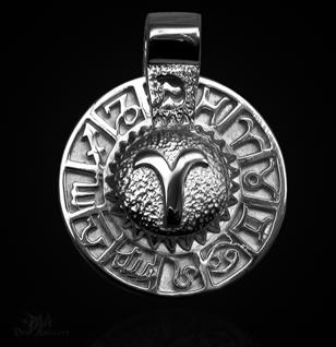 Sternzeichen Widder - Tierkreiszeichen Amulett aus 585/000, 14 Karat Weißgold - Vorschau 1