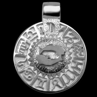 Sternzeichen Fisch - Tierkreiszeichen Amulett 925/000 Sterlingsilber bildliches Symbol mit Kautschukband - Vorschau 1
