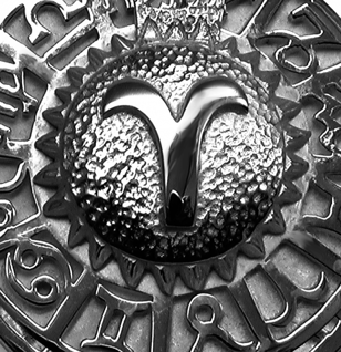 Sternzeichen Widder - Tierkreiszeichen Amulett aus 585/000, 14 Karat Weißgold - Vorschau 2