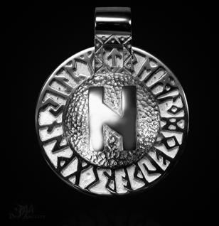 Runen-Amulett Hagalaz aus 950/ Platin - Vorschau 1