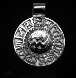 Sternzeichen Wassermann - Tierkreiszeichen Amulett aus 585/000, 14 Karat Weißgold - Vorschau 1