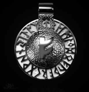 Runen-Amulett Fehu aus 950/000 Platin - Vorschau 1