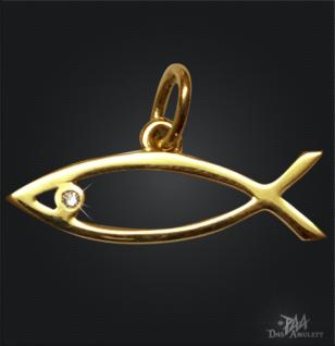 Ichthys/ Jesus Fisch 585/000 Gelbold mit Brillant