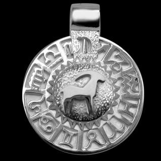Sternzeichen Steinbock - Tierkreiszeichen Amulett bildliches Symbol 585/000 Weissgold - Vorschau 1