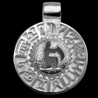 Sternzeichen Wassermann - Tierkreiszeichen Amulett 925/000 Sterlingsilber bildliches Symbol mit Kautschukband - Vorschau 1