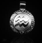 Sternzeichen Wassermann - ß 20mm 925/000 Sterlingsilber mit Kautschukband