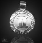 Sternzeichen Zwilling - 20mm 925/000 Sterling Silber mit Kautschukband