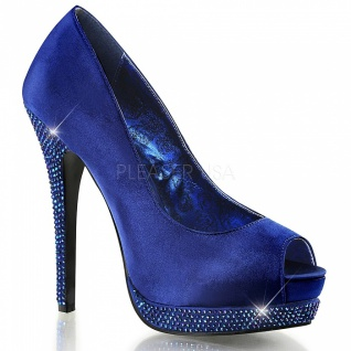 Strass Peep Toe Pumps Bella-12R blau - Vorschau