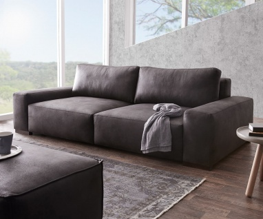 Bigsofa Lanzo XL Anthrazit 270x125 cm Vintage Optik mit Kissen Big-Sofa