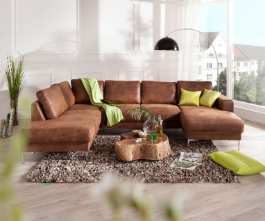 Couch Silas Braun Antik Optik 300x200 cm Ottomane Links Designer Wohnlandschaft