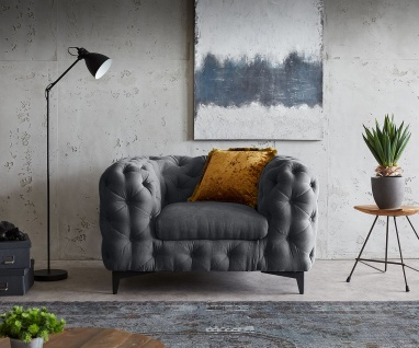 Loungesessel Corleone Graphite 120x97 cm Clubsessel