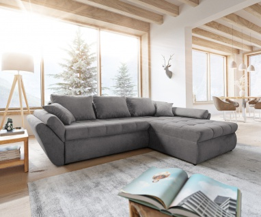 Couch Loana Taupe 275x185 Ecksofa Schlaffunktion Ottomane variabel
