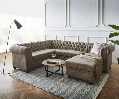 Couch Chesterfield 266 cm Taupe Abgesteppt Ottomane Rechts